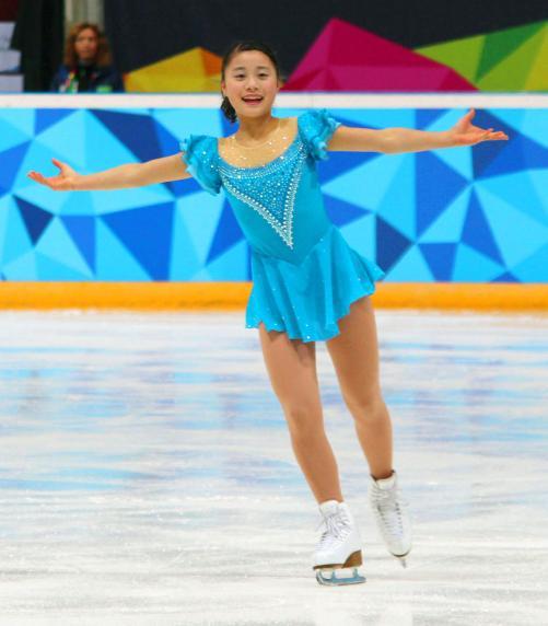 白岩優奈がSP首位 冬季ユース五輪
